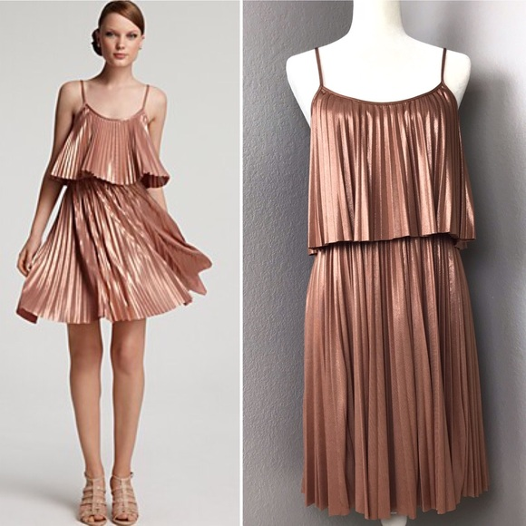 Halston Heritage Dresses & Skirts - Halston Heritage Rose Gold Pleated TierDress I10